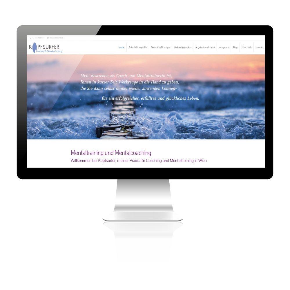Individuelles Design für Mentaltrainerin aus Wien. Konzept und andere Agenturleistungen. Beispielbild der Startseite.