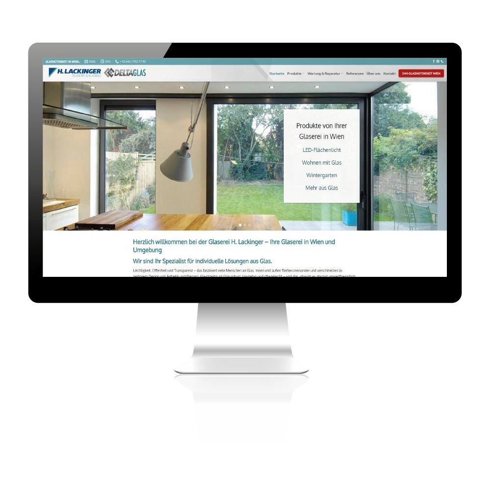 Glaserei Harald Lackinger und Delta Glas. Website Neugestaltung, Konzept und Beratung.