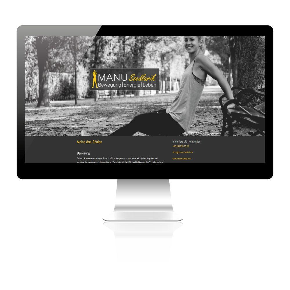 Erweiterte Webvisitenkarte und Design für Personal Trainerin aus Wien.