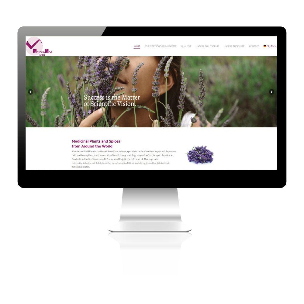Firmenwebsite von MateriaMed: Anbau und Handel von Gewürzen, Kräuter und Tees.