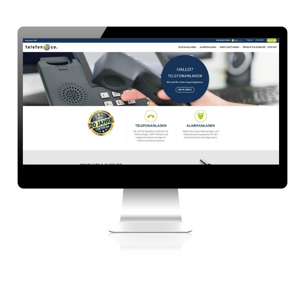 Erstellung Onlineshop und Firmenhomepage für Telefonanlagenverkäufer.