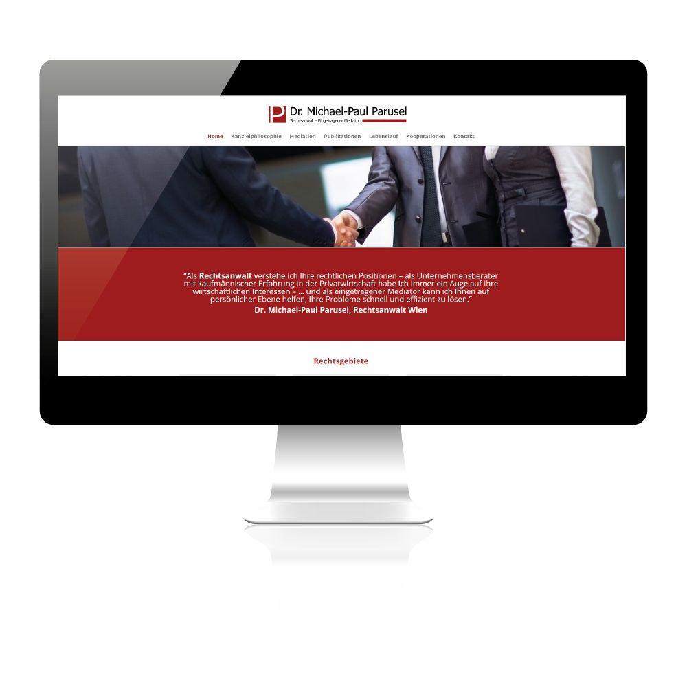 Webdesign Erstellung Website, Logo und Visitenkartendesign für Rechtsanwalt in Wien.